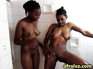 African Lesbians Licking Shaved Cunts In Shower