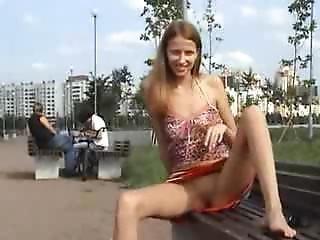Slim Girl Exhib In Public Park