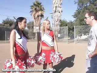 Hot Threesome With 2 Cheerleaders!