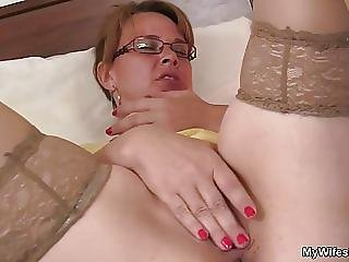 Mommy In Pantyhoses Stuffed With Cock From Behind