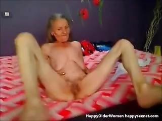 Ugly Granny Playing On Web Cam. Amateur Older