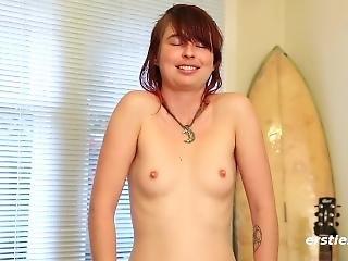 bonasse, brunette, allemande, masturbation, solo, Ados