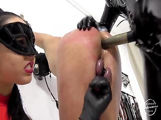 Two Mistresses Fuck Tied Slave