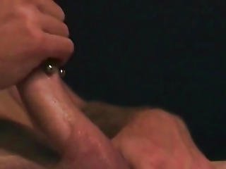 Straight Amateur Hunk Strokes Pierced Cock
