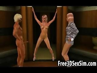 Two Sexy 3d Cartoon Blonde Babes Getting Fucked Hard