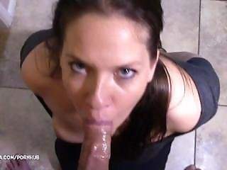 Amateur, Babe, Blowjob, Brunette, Cuffed, Gagging, Handcuffed, Pov