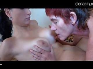 Old Granny Licking Young Pussy And Fucking Her With Strapon
