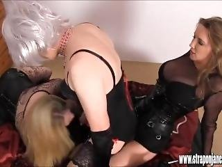 Lucky Sissy Slut Is Fucked And Sucked By Two Horny Femdoms With Big Strapon