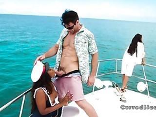 Hot Ebony Captain Fucks On The Boat
