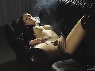The Horny Girl Smokes A Cigarette And Masturbates To Orgasm.