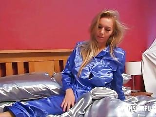 Stephanie Wearing A Gorgious Satin Pajamas