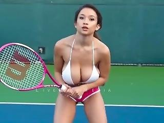 Elizabeth Anne Playing Tennis In Slow Motion - Huge Tits