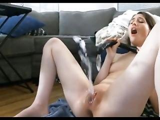 Horny Teen Squirts All Over The Place