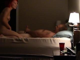 Sexy Little Red Head Slut Rides Fat Cock Homemade