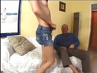 Gorgeous Brunette Milf Loves To Suck Older Man S Cock Before Riding It On Couch