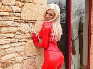 Susan Wayland Shining Red Catsuit