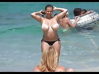 пляж, большой болвана, большие натуральные сиськи, болван, естественный, натуральные сиськи