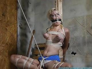 Stupid Cunt Gets Tied Up, Gagged, Nose Hooked And Makes Retarded Faces