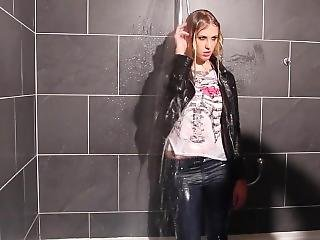 Blonde Take Shower Fully Clothed