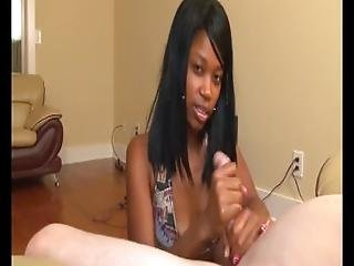 Hot Teen Ebony Handjob Demonstration
