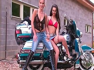 Two Gorgeous Milfs Possing Naked On A Bike - Softcore