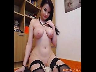 Hot Brunette With Big Tits And Lingerie Uses Dildo Live On Cam