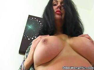 British Milf Sassy Feels Rather Excited In Black Stockings And Starts Toying Her Wet Cunny Bonus Video: Uk Milf Janey