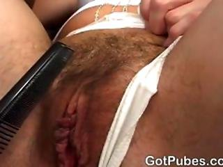 Hot Brunette Takes It In Her Hairy Pussy And Ass