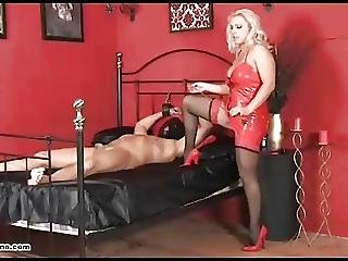 Blonde Mistress Makes Slave Cum With Slow Wank And Blowjob