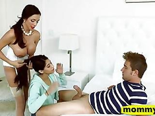 Angel Del Rey And Ariella Ferrera 3some In The Bedroom
