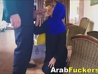 Nervous Arabian Refugee Takes Cash For Fucking Fat Dick