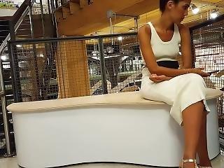 Candid Voyeur Creeping On Thin Hot Model Nice Feet