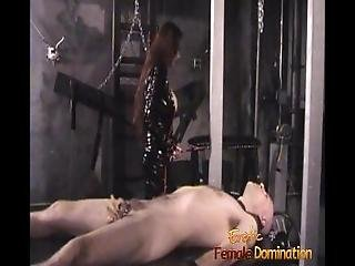 Slim Stunner Wearing Latex Has Some Dungeon Fun With A Bald Stud