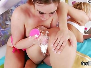 Lesbo Babes Spread Their Deep Buttholes And Nail Big Fuck Toys