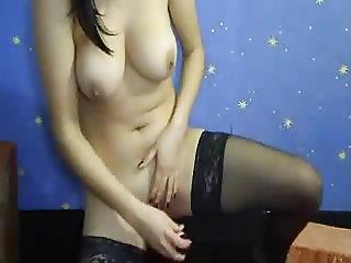 Brunette With Black Stocking And Very Nice Tits