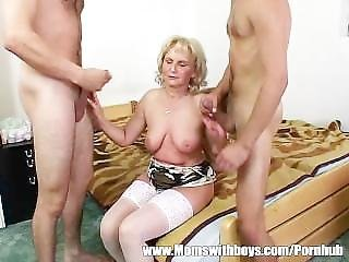Computer Geeks Gets Warmed Up By A Mature Blonde