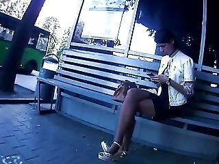 Candid Pantyhose Crossed Legs In Bus Stop