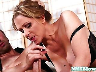 Cockhungry Housewife Sucking And Wanking Cock