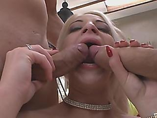 Blonde Hottie Gets Double Teamed By Long Rods