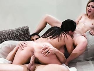 Horny Couple Angela White And Donnie Rock In A 3some Fuck