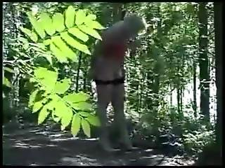 A Russuan Girl Pisses In The Wood