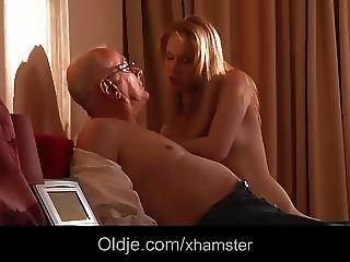Rubia, Blowjob, Sexando, Abuelo, Madura, Adolescente, Joven