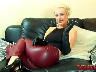 Michelle Monroe Smoking In Brown Leather Trousers