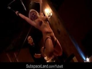 Busty Blonde Slave Excited With Anal Plug And Vibrator In Bdsm