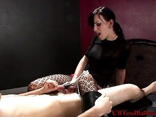 CBT Mistress and slave both masturbate togeth