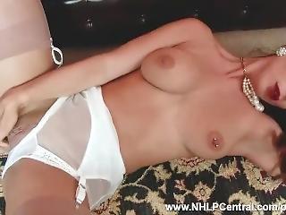 Brunette Big Tits Roxy Mendez Strips To Pantie Garter Nylon Fingering Pussy