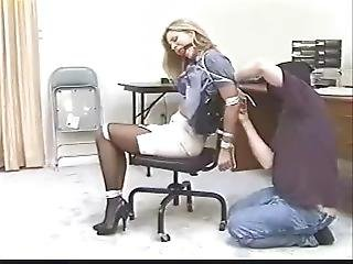Cute, Sexy, Secretary Gets Captured, Ball Gagged & Chairtied Tight!!!!!!!!!