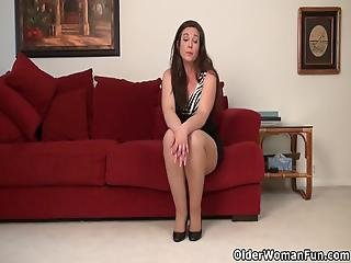 Brunette Milf Katrina From The Usa Shows Off Her Curvy And Pantyhosed Body Before She Rubs Her Hungry Pussy Bonus Video: American Milf Lauren