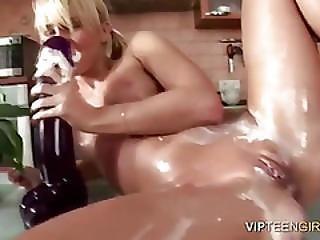 Blonde, Cream, Masturbation, Messy, Pussy, Teen, Whip