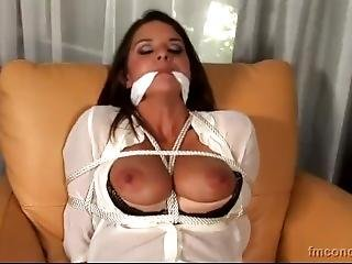 Beauty With Transparent Blouse Bound And Gagged A Home